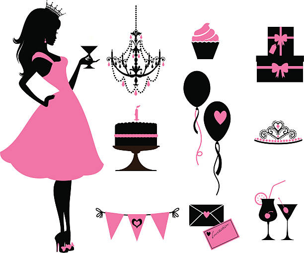 Party Princess A cute princess and party elements. Click below for more party and sexy girl images. birthday silhouettes stock illustrations