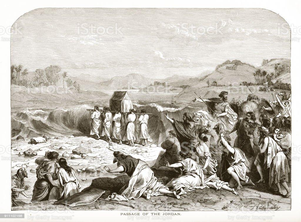 Pasage of the Jordan Biblical Engraving vector art illustration