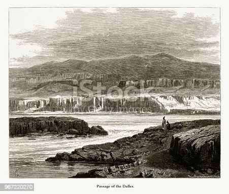 Very Rare, Beautifully Illustrated Antique Engraving of Passage of the Dalles, Columbia River, Oregon, United States, American Victorian Engraving, 1872. Source: Original edition from my own archives. Copyright has expired on this artwork. Digitally restored.