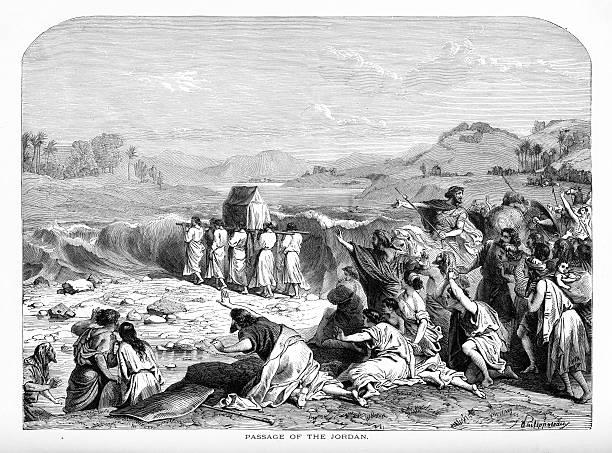 Passage of the Jordan Biblical Engraving vector art illustration