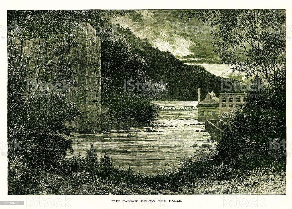 Passaic River below the Great Falls, New Jersey royalty-free stock vector art