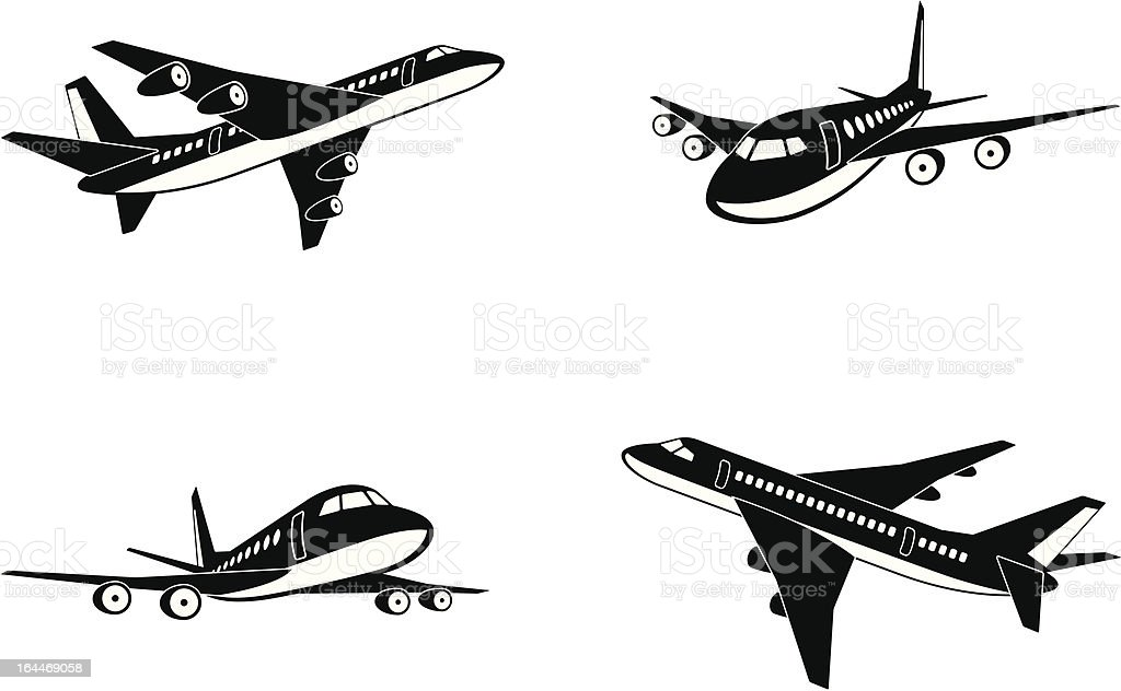 Passenger airplanes in perspective vector art illustration