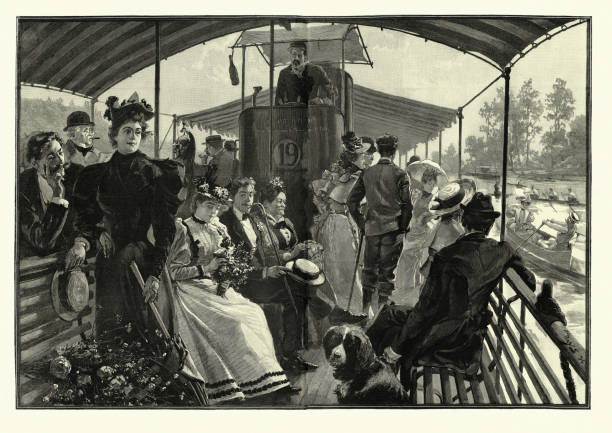 Passenger on a Seine steamboat, Paris, 19th Century Vintage illustration of Summer day excursions from Paris, a seine steamboat retrning from Suresnes, 1895, 19th Century. By H E Parys seine river stock illustrations