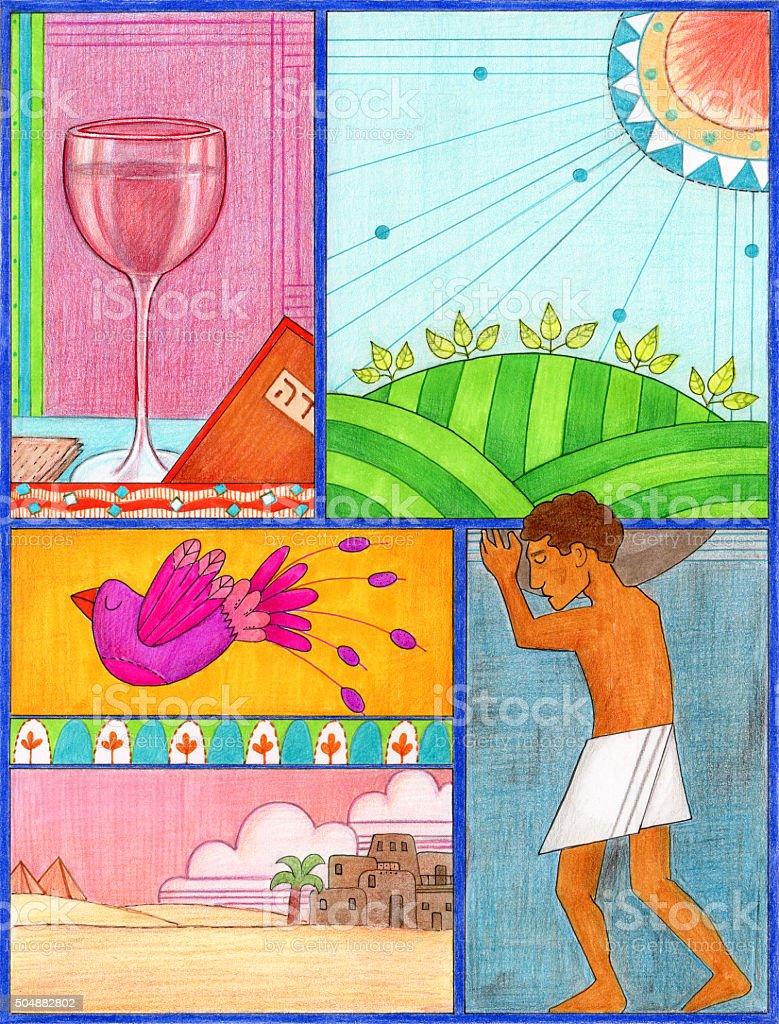 Páscoa judaica arte - ilustração de arte em vetor