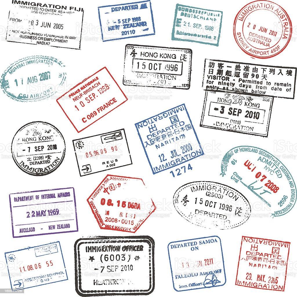 Passport stamps royalty-free stock vector art