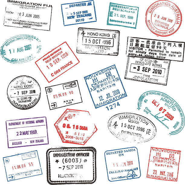 Passport stamps Various coloured passport stamps on a white background. airport backgrounds stock illustrations
