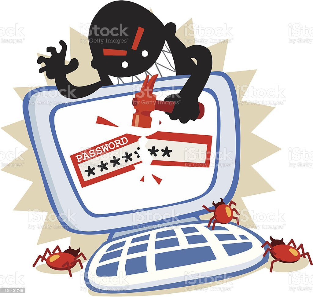 Password hack in internet crime. royalty-free password hack in internet crime stock vector art & more images of computer