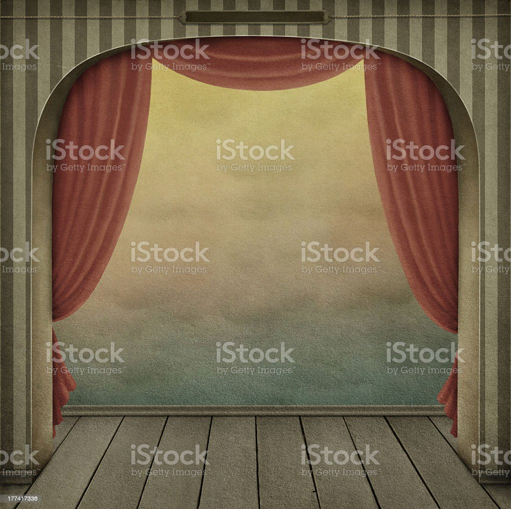 Pastel background with arch and curtains vector art illustration