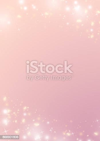 istock Pastel gradient pink background with sparkle bokeh star and light border 866901806