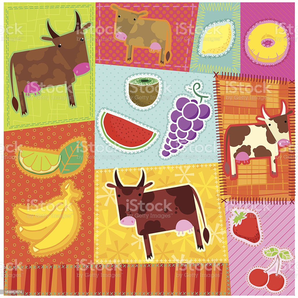 Patchwork Cows vector art illustration