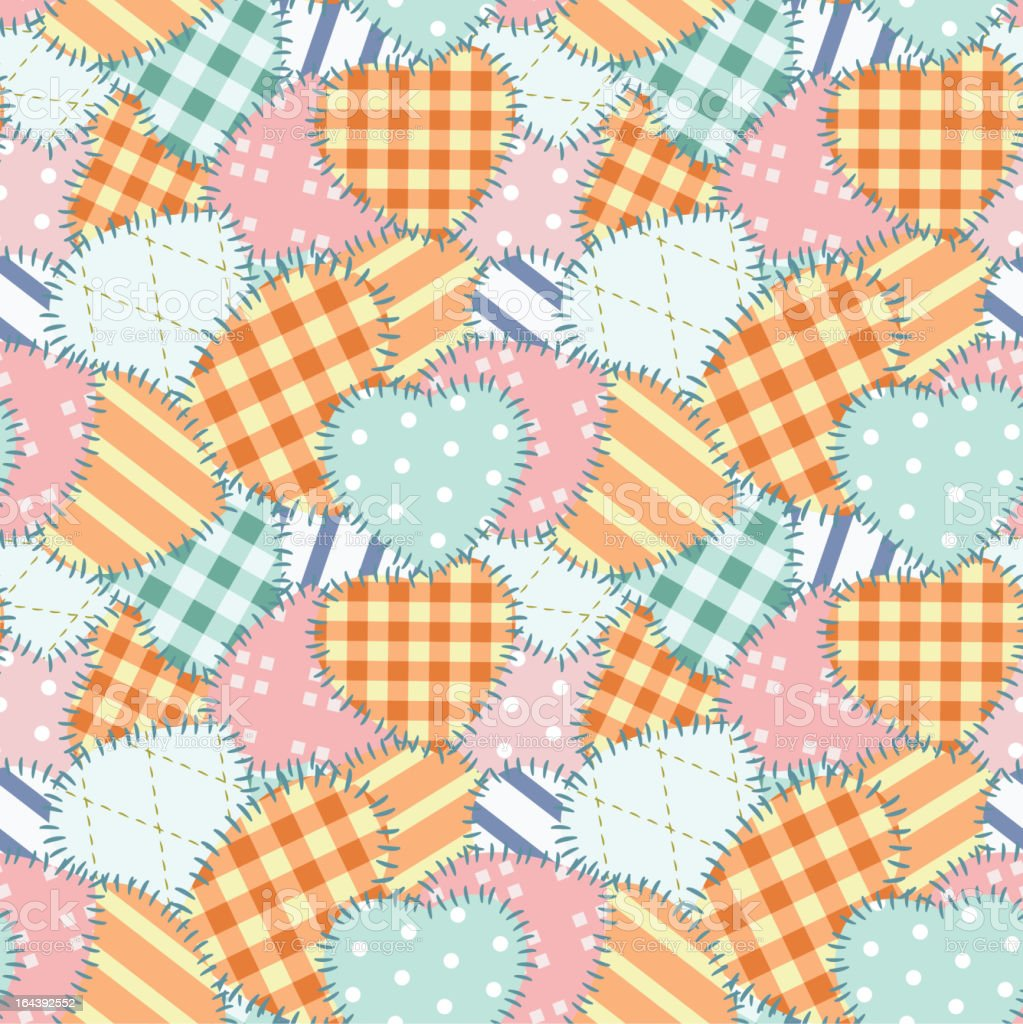 Patchwork seamless pattern with hearts royalty-free stock vector art