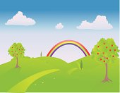 Trail through the countryside in springtime with a rainbow at the end