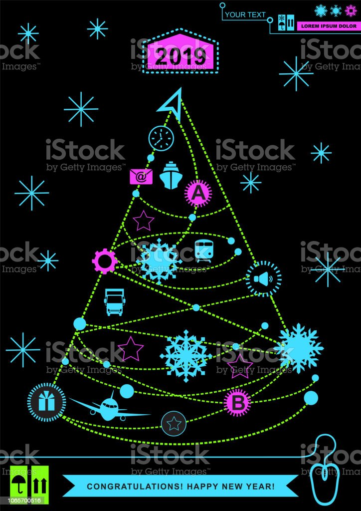 Pathway in the shape of christmas tree. Bright neon christmas...