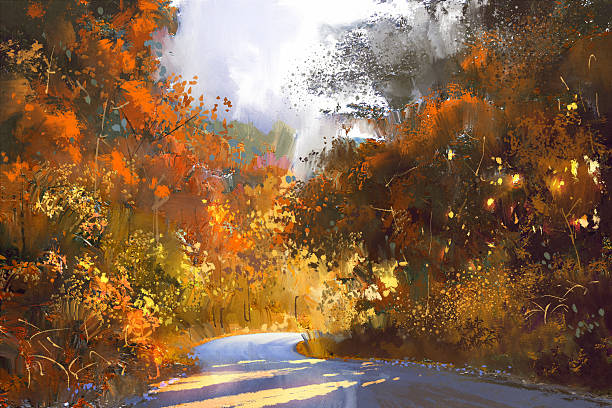 pathway through the colorful forest,illustration - oil painting stock illustrations