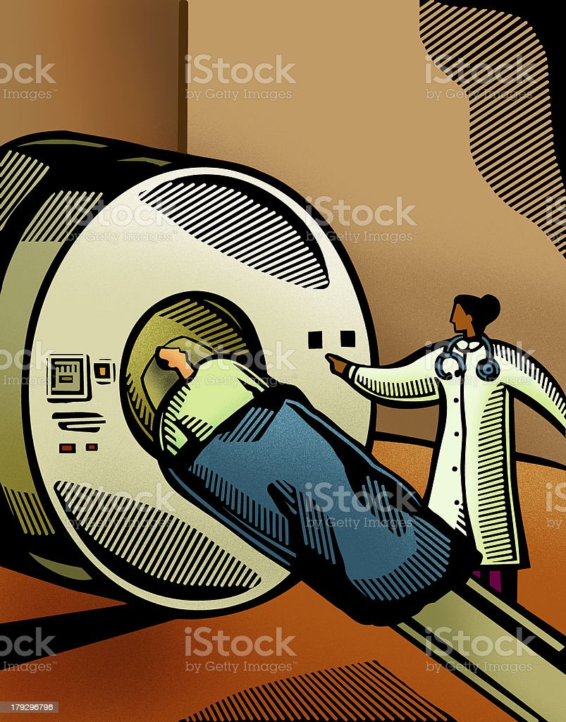 patient having a ct scan vector art illustration