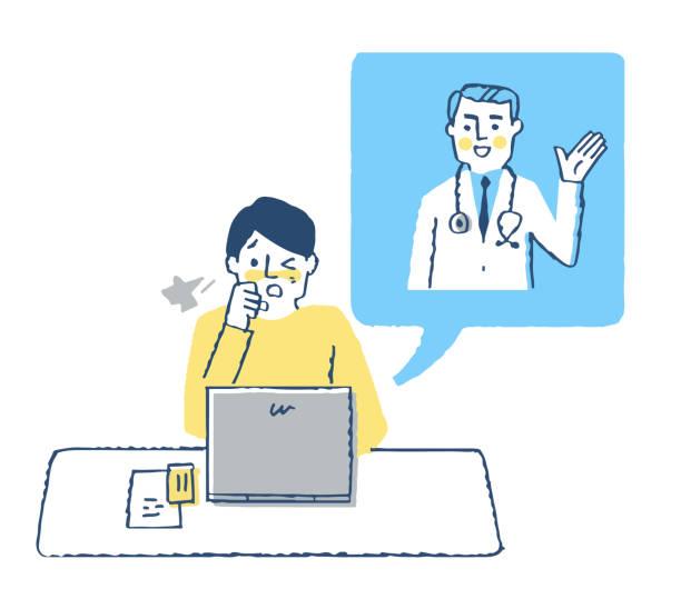 オンライン治療を受けている患者 - テレビ会議 日本人点のイラスト素材/クリップアート素材/マンガ素材/アイコン素材