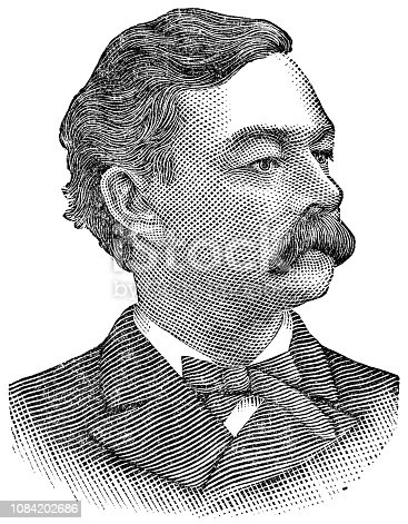 Patrick Andrew Collins the 37th Mayor of Boston, Massachusetts (circa 19th century). Vintage halftone etching circa late 19th century.