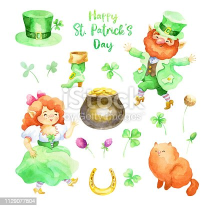 Patricks day watercolor illustrations set with hand drawn leprechauns and clover.