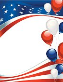 USA Flag background with balloons
