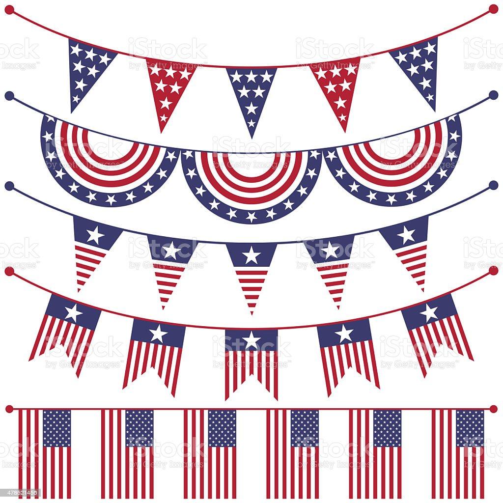 USA patriotic buntings vector art illustration