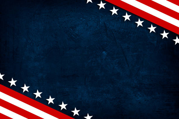 USA Patriotic grunge background American style backdrop with USA flag elements on blue grunge background. american culture stock illustrations