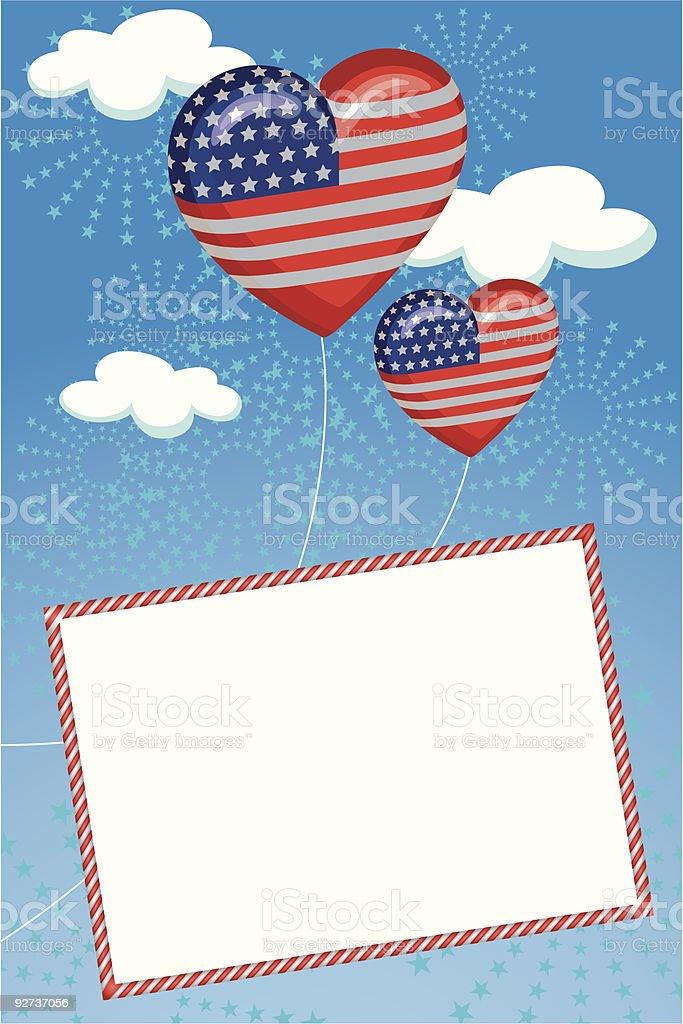 Patriotic Love Postcard - Royalty-free American Flag stock vector