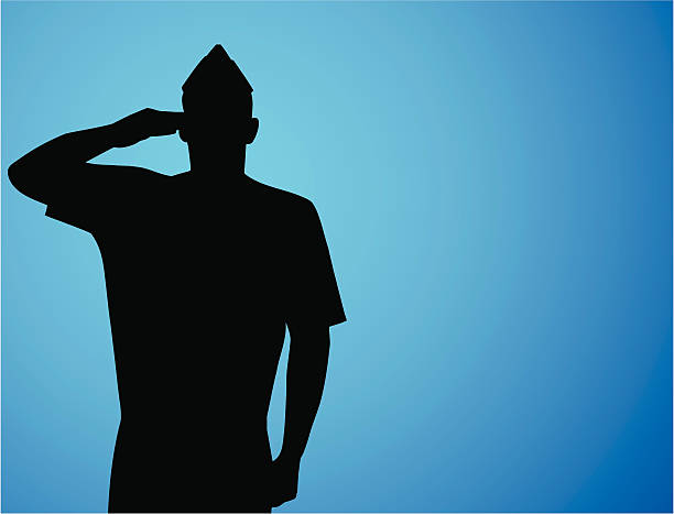 Patriotic Salute Vector silhouette of a US Airman saluting. Copy space for your patriotic saluting stock illustrations