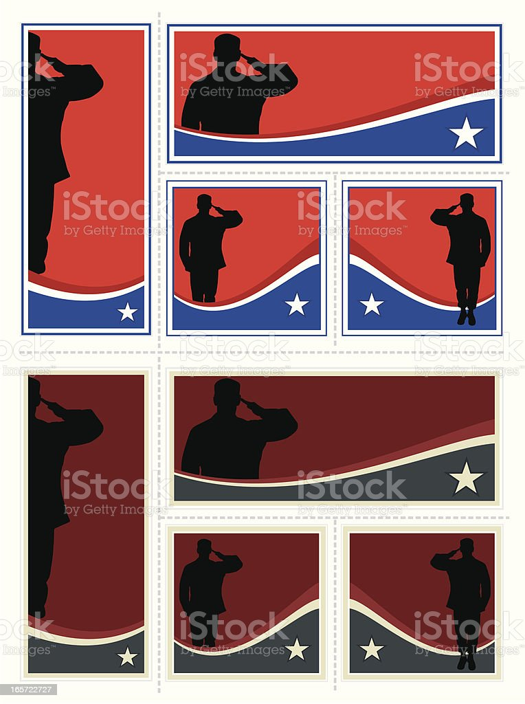 Patriotic Soldier Set royalty-free stock vector art