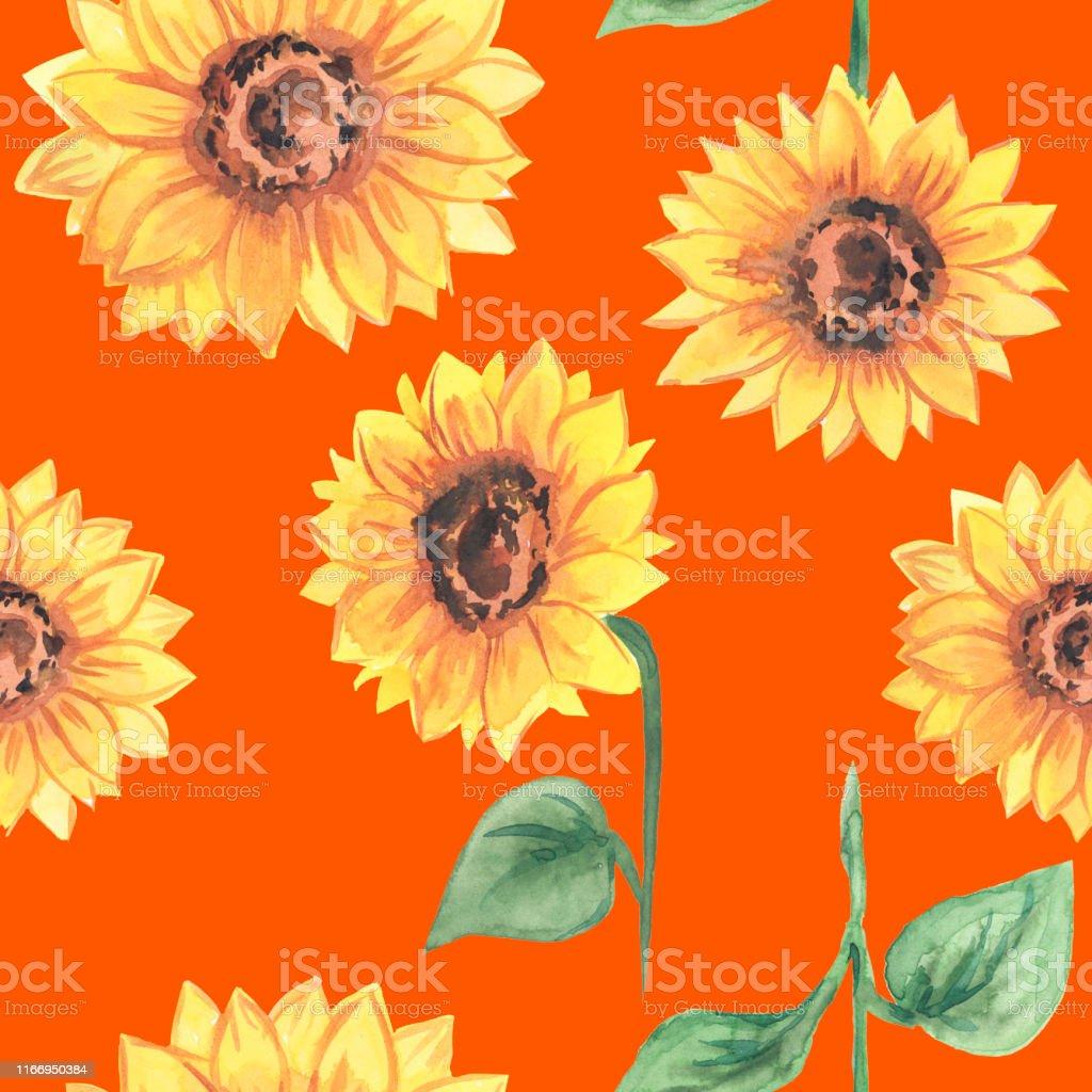 オレンジの背景ベクトルイラスト画像にパターン花明るい黄色のひまわり まぶしいのベクターアート素材や画像を多数ご用意 Istock