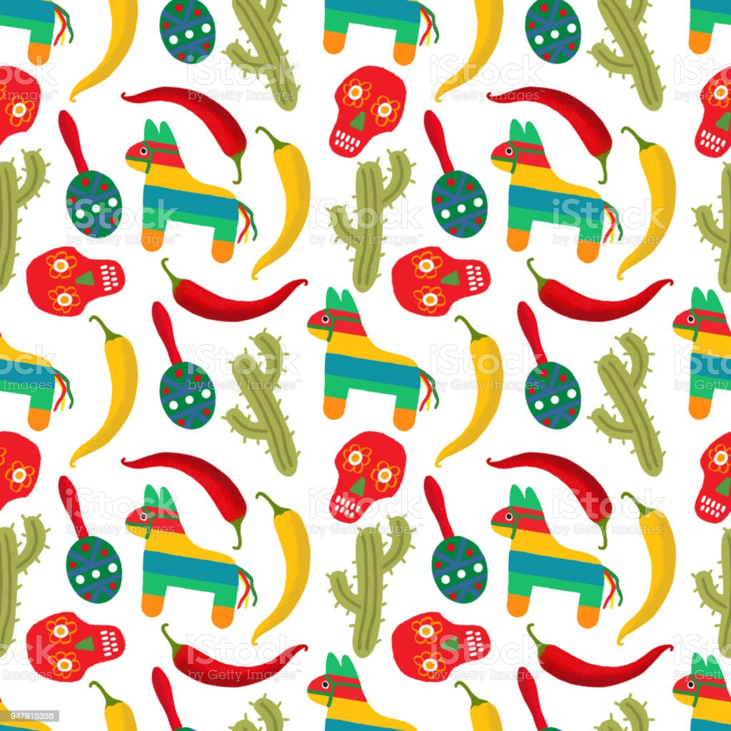pattern made of traditional cinco de mayo symbols mexican fiesta