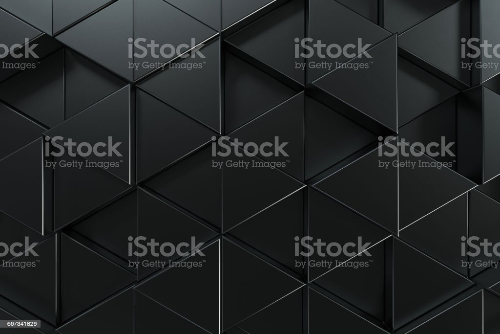 Pattern of black triangle prisms vector art illustration