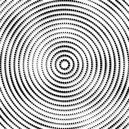 Pattern of dots in concentric orbits, angular size dependency. Dropping shadow.