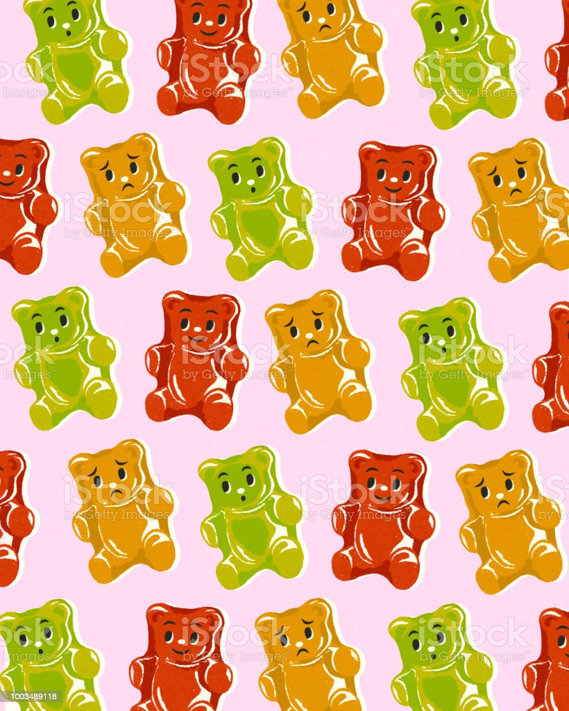 Pattern Of Gummy Bears Stock Vector Art & More Images of Animal ...
