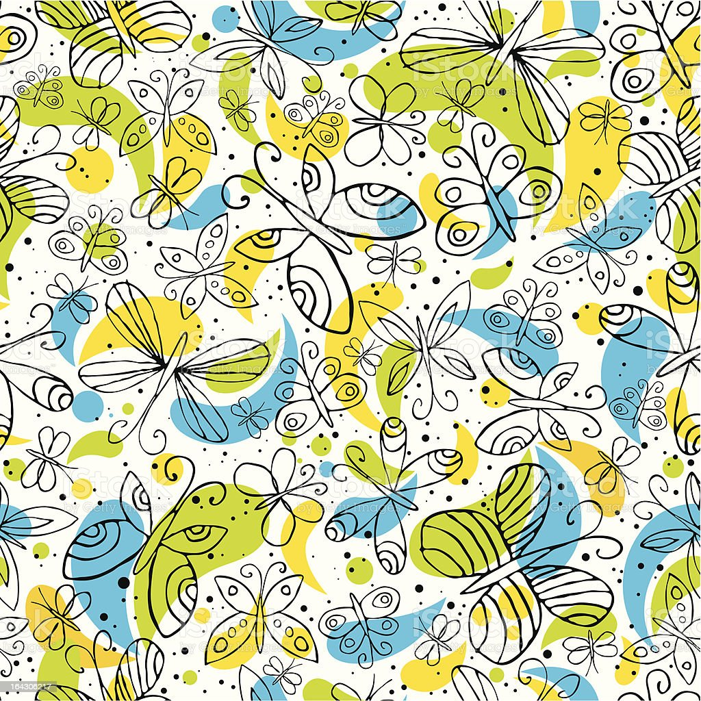 pattern of hand draw butterflys royalty-free stock vector art