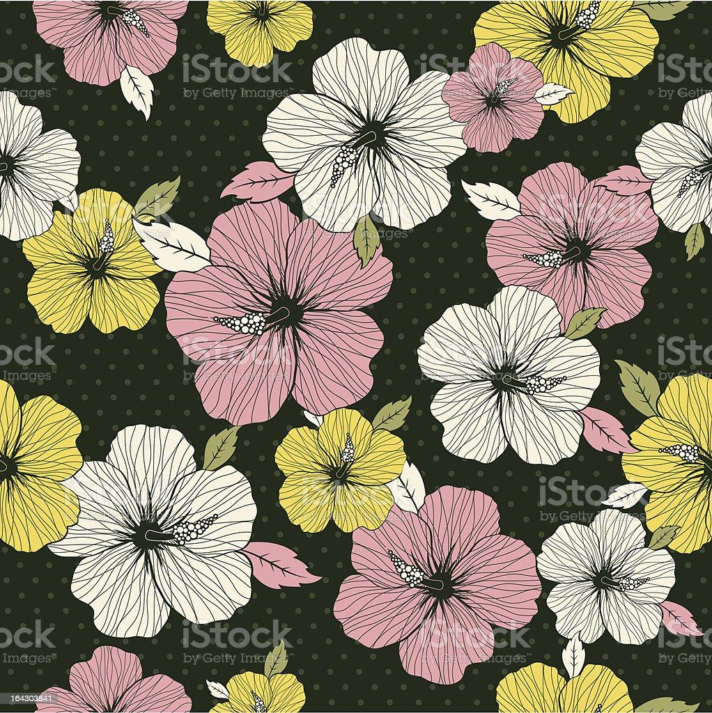 pattern of hibiscus on green background royalty-free stock vector art