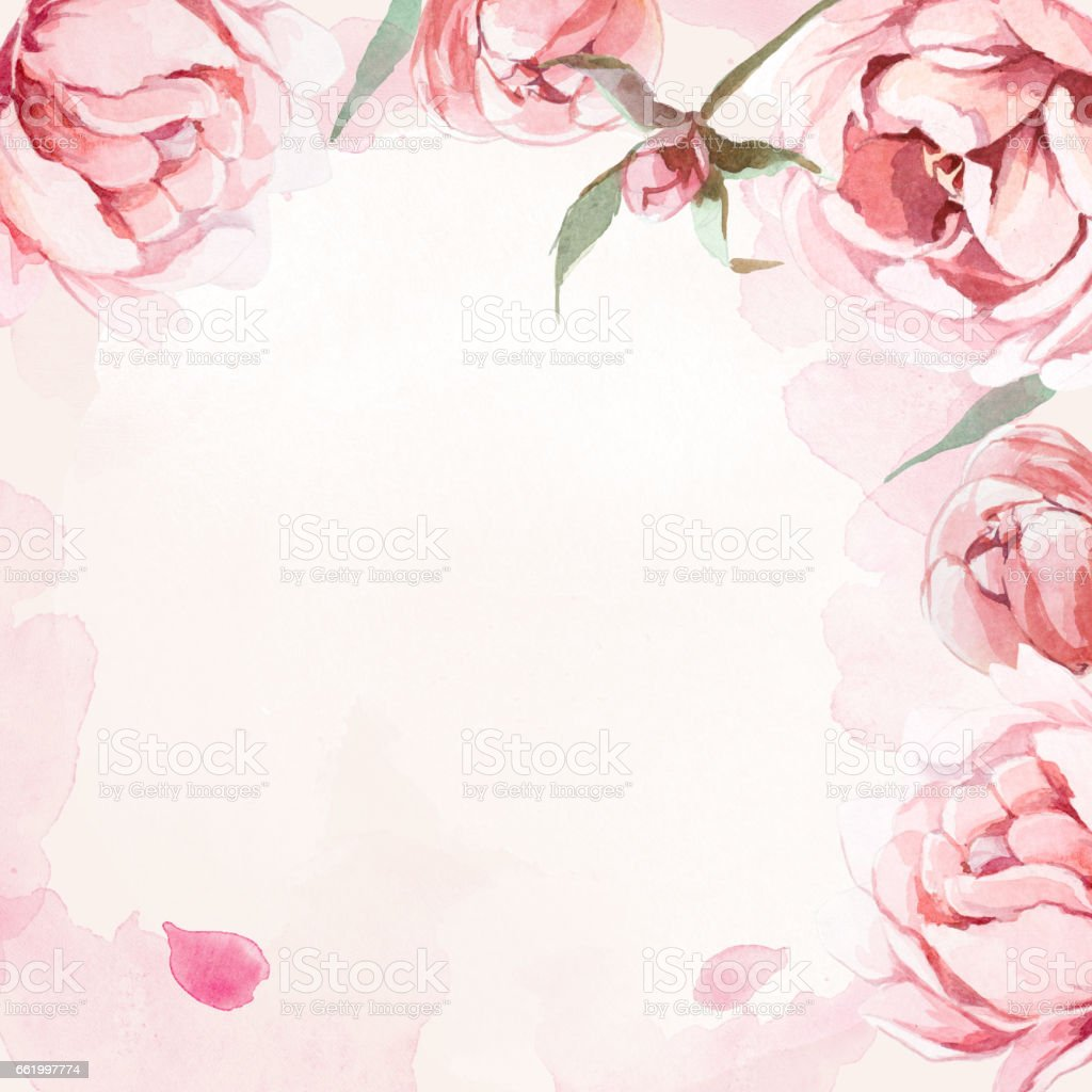 Pattern Of Watercolor Pink Rose And Red Peonies And Leaves On Rose
