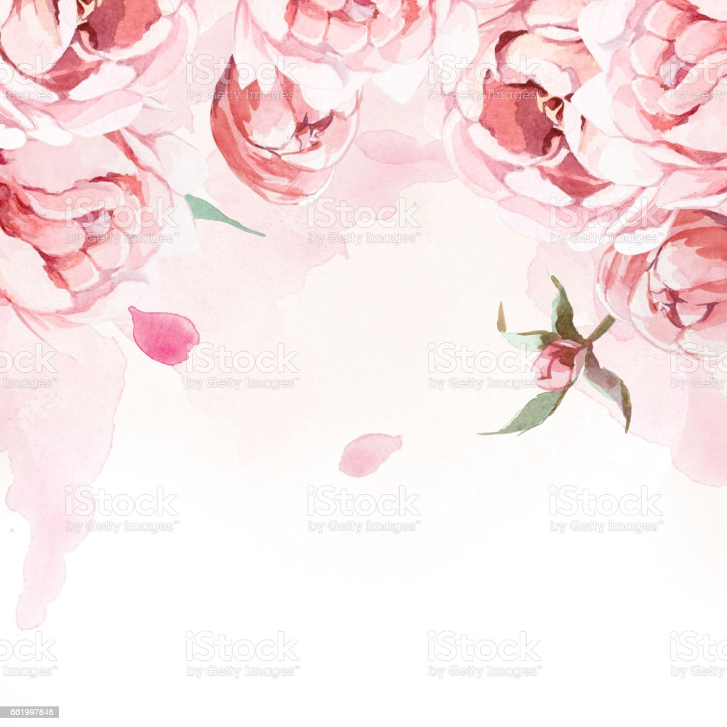 pattern of watercolor pink, rose, and red peonies and leaves on rose background royalty-free pattern of watercolor pink rose and red peonies and leaves on rose background stock vector art & more images of art