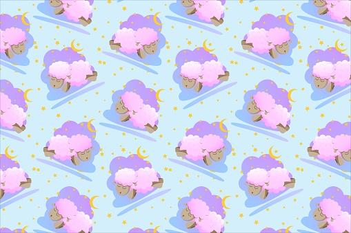 Pattern sleepy sheep, night dream, pink, blue sky, stars and moon, vector illustration