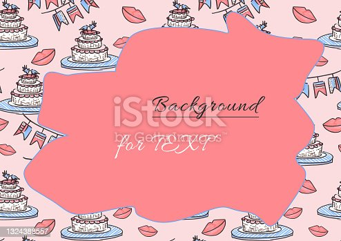 istock Pattern Weddings invitation or greeting card celebration in line art style on pink Backgrounds for text. doodle drawn with felt pen. Cake, lips and checkbox of illustrations for congratulations on the Wedding day. 1324388557