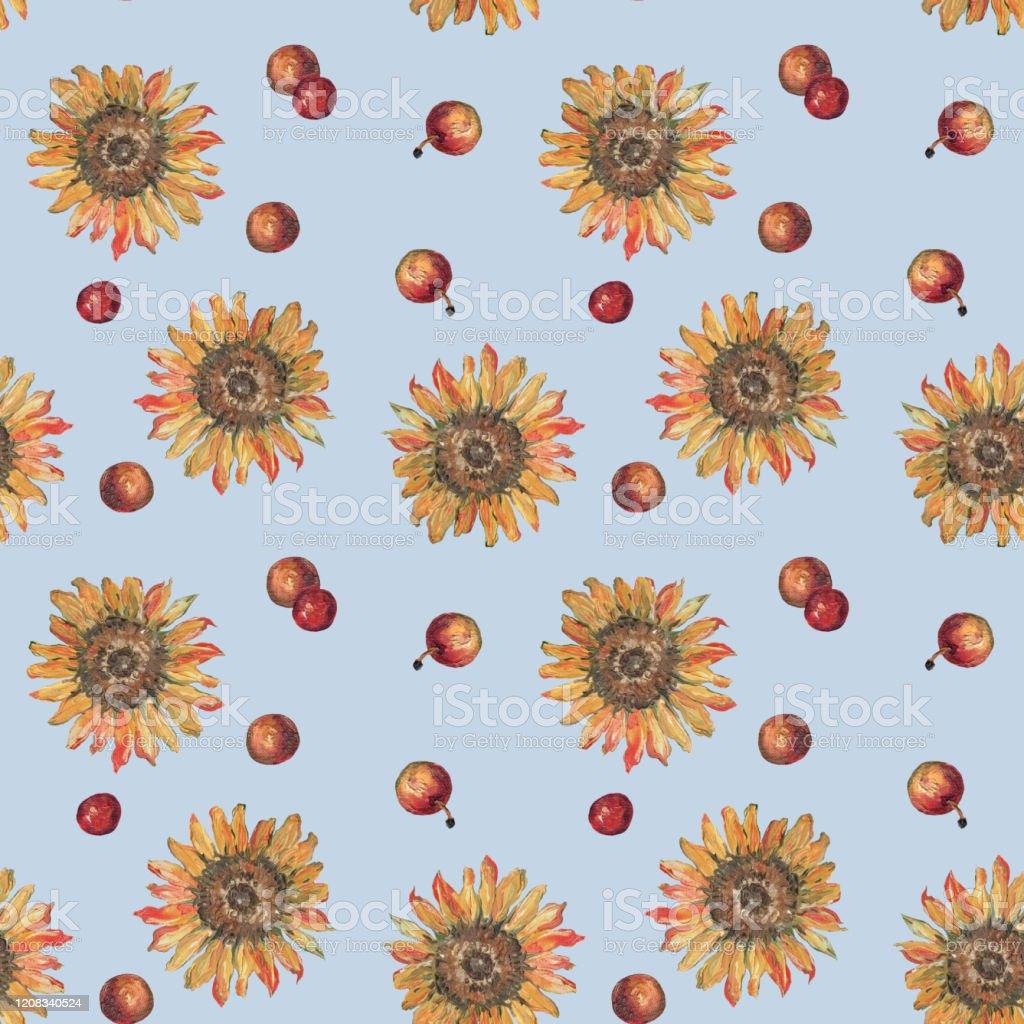 ひまわりの模様花とリンゴのパターン ひまわり油絵分離された色の背景テキスタイル壁紙包装紙色 イラストレーションのベクターアート素材や画像を多数ご用意 Istock