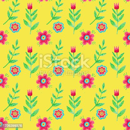 pattern with beautiful flowers, stylized plants