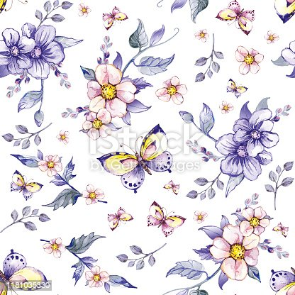 istock pattern with flowers, leaves, butterflies 1181035330