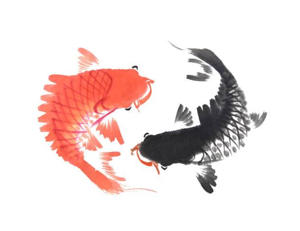 stockillustraties, clipart, cartoons en iconen met patroon met hand getrokken koi vissen - carp