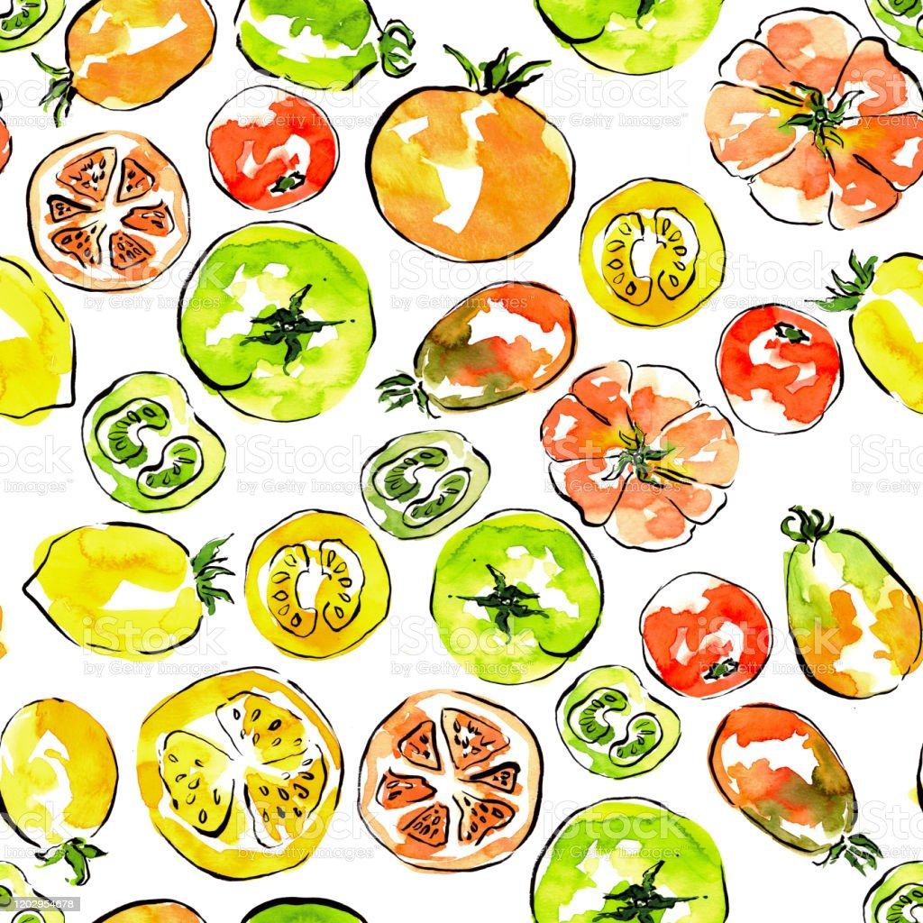 Pattern With Tomatoes Red Green And Yellow Colors Table Cloth Tea Towel Design Kitchen Decor Cooking Book Stock Illustration Download Image Now Istock