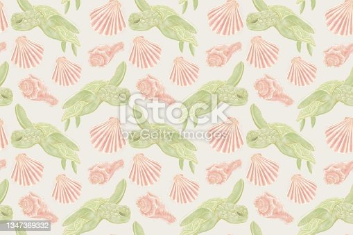 istock Patterns from marine-themed illustrations, green turtles and coral clam shells on a gray background, seamless 1347369332
