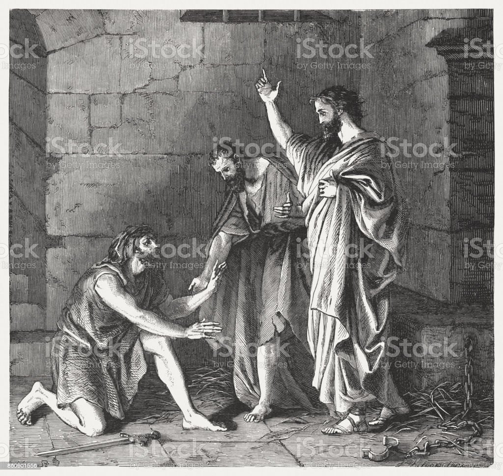 Paul And Silas In Prison Acts 16 31 Published 1886 Royalty