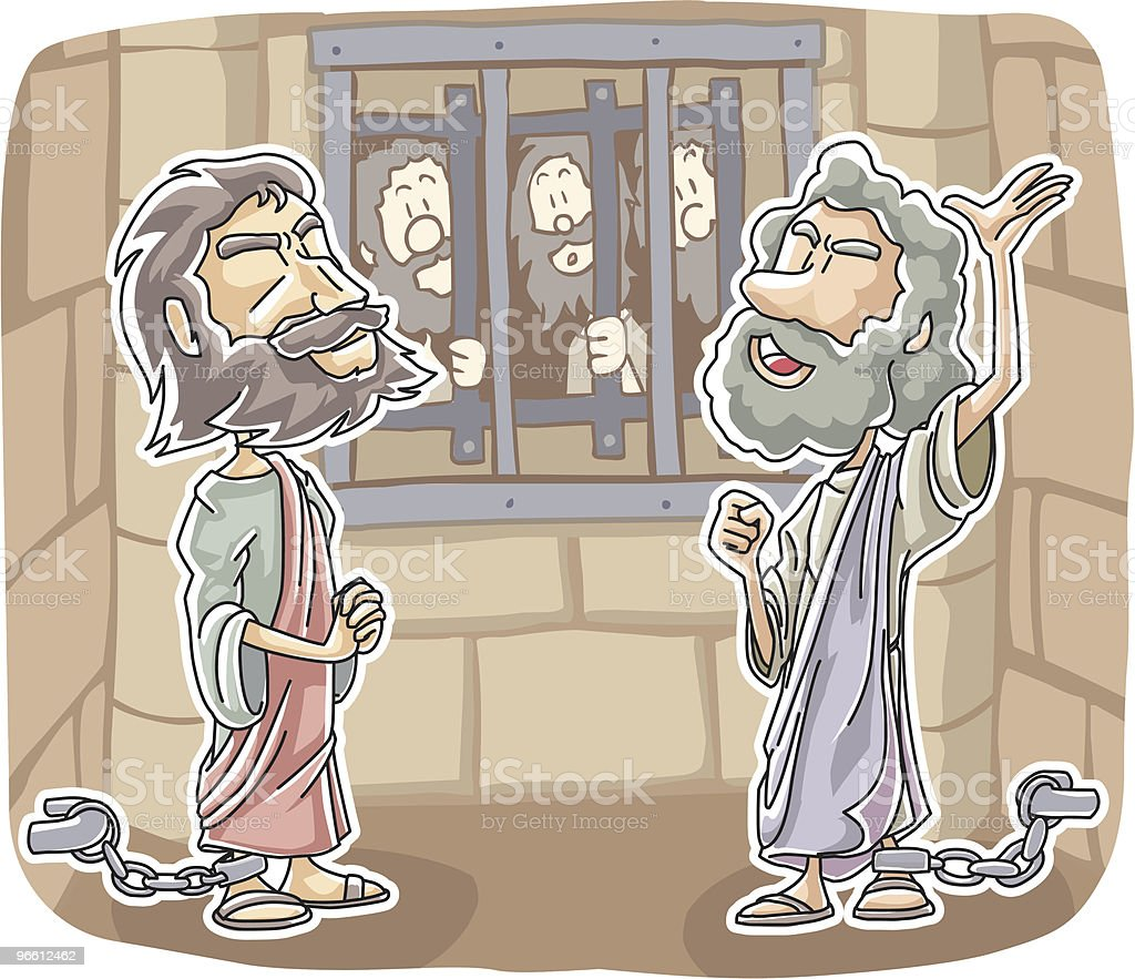 Paul and Silas praised God in Prison - Royalty-free Adult stock vector