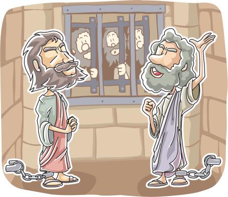 Paul E Silas Louvadas Deus Na Prisão - Arte vetorial de stock e mais imagens de Adulto