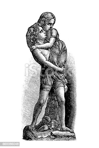 Antique illustration of Paul and Virginia by William Calder Marshal