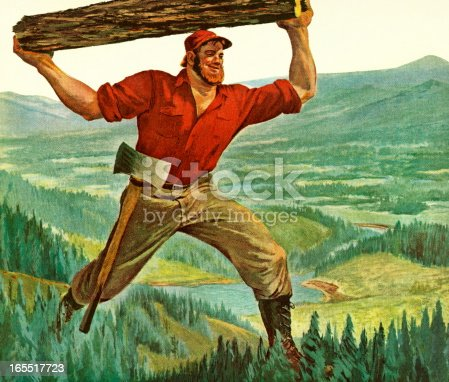 Paul Bunyan Carrying a Log